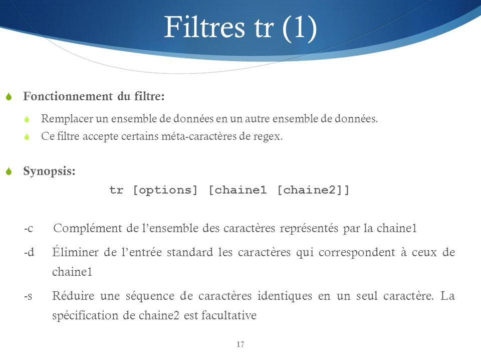 tr [options] [chaine1 [chaine2]]